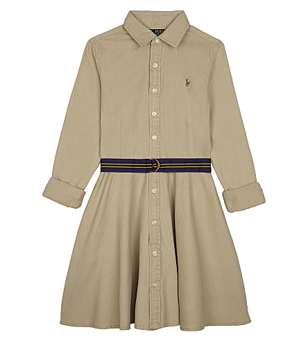 RALPH LAUREN Cotton shirtdress with grosgrain belt 7-16 years (Classic+khaki