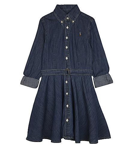 RALPH LAUREN Denim fit-and-flare shirtdress 7-16 years (Indigo