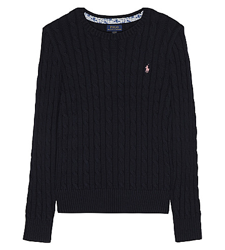 RALPH LAUREN Classic cable-knit cotton jumper 7-14 years (Hunter+navy