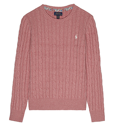 RALPH LAUREN Cable knit cotton jumper 7-14 years (Victorian+rose