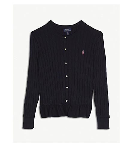 RALPH LAUREN Cable-knit peplum cotton cardigan 7-14 years (Navy