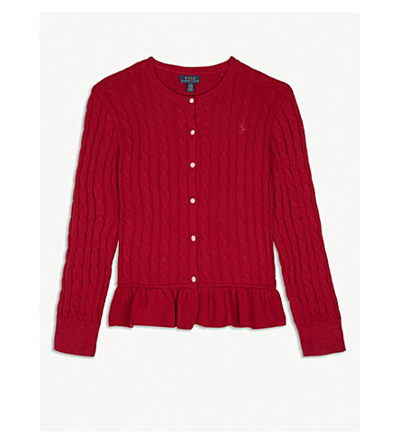 RALPH LAUREN Cable-knit peplum cotton cardigan 7-14 years (Red