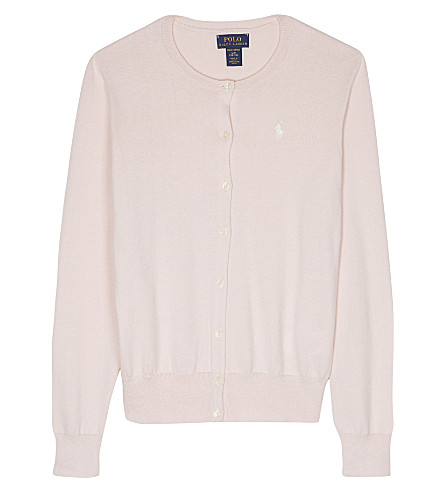 RALPH LAUREN Cotton long-sleeve cardigan 7-14 years (Powder+pink