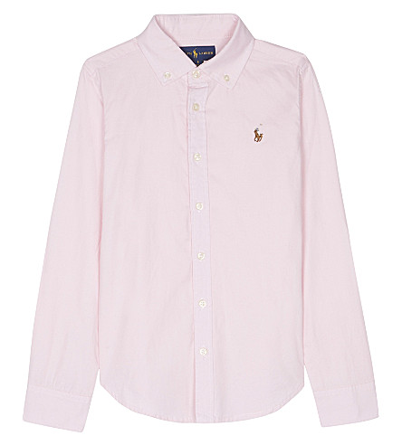 RALPH LAUREN Cotton long-sleeved Oxford shirt 7-16 years (Deco+pink