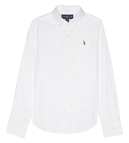 RALPH LAUREN Long-sleeved cotton Oxford shirt 7-16 years (White