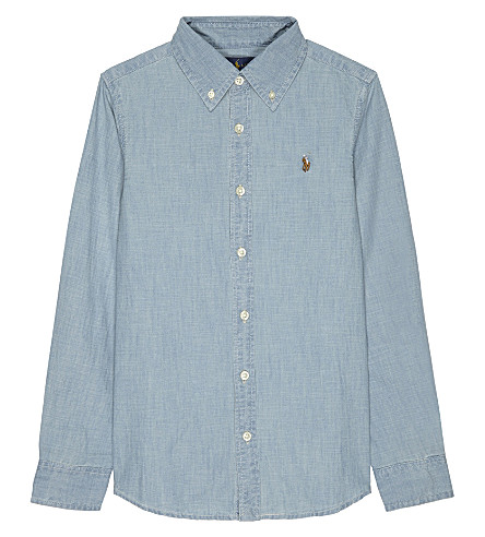 RALPH LAUREN Pony chambray cotton shirt 7-16 years (Indigo
