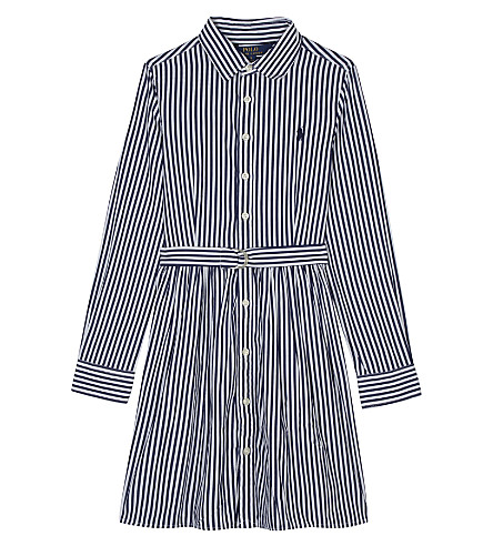 RALPH LAUREN Bengal stripe cotton shirt dress 7-16 years (Navy/white