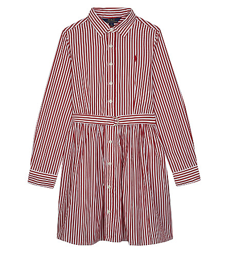 RALPH LAUREN Striped cotton shirt dress 7-16 years (Red/white