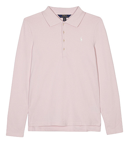 RALPH LAUREN Long-sleeved polo shirt 6-14 years (Hint+of+pink