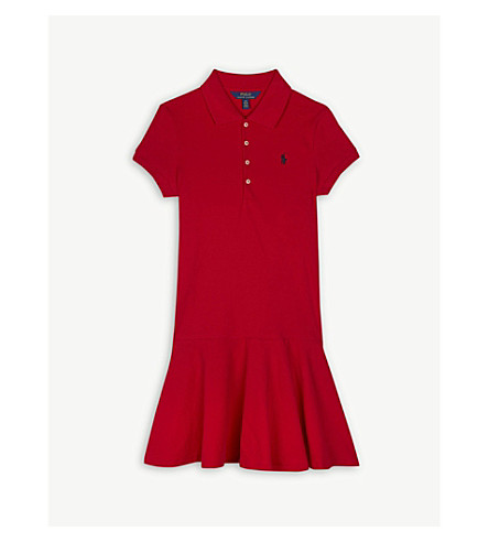 RALPH LAUREN Cotton-blend polo dress 4-16 years (Red