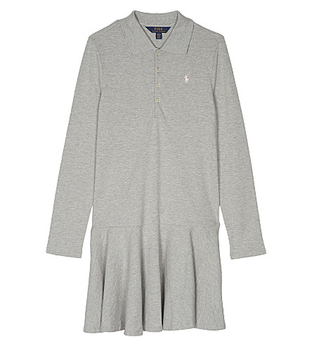 RALPH LAUREN Cotton long-sleeved polo dress S-XL (Andover+heather