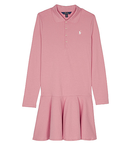 RALPH LAUREN Long-sleeved cotton polo dress 7-14 years (Rugby+pink