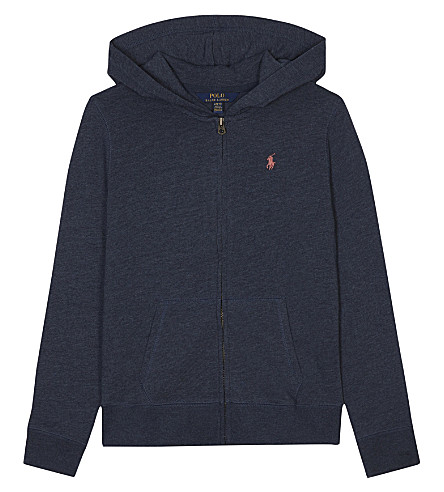 RALPH LAUREN Zip-through hoody 6-14 years (Indigo+heather