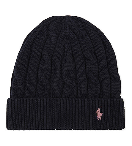 RALPH LAUREN Slouchy cable-knitt cotton beanie (Hunter+navy