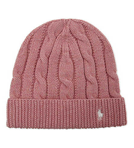 RALPH LAUREN Slouchy cable-knit cotton beanie (Rugby+pink