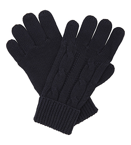 RALPH LAUREN Pony cable-knit cotton gloves (Hunter+navy