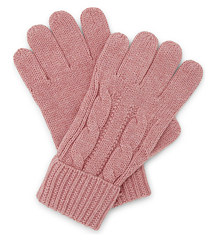 RALPH LAUREN Pony cable-knit cotton gloves (Rugby+pink