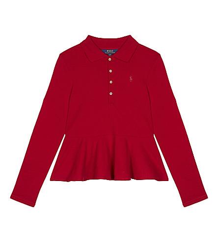 RALPH LAUREN Logo cotton peplum top (Park+ave+red