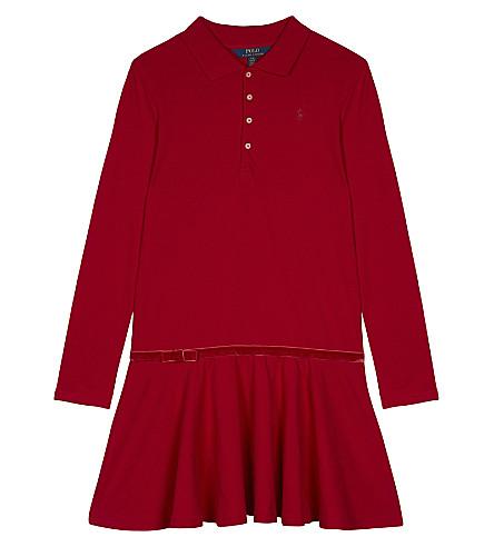 RALPH LAUREN Logo cotton long-sleeved polo dress S-XL (Park+ave+red