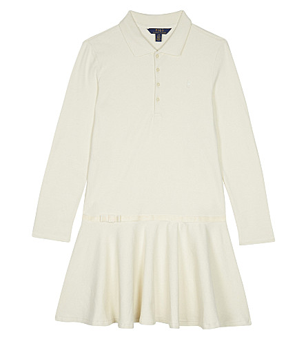 RALPH LAUREN Logo cotton long-sleeved polo dress (Olympia+cream