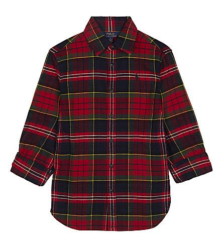 RALPH LAUREN Tartan print cotton shirt (Royal+tartan