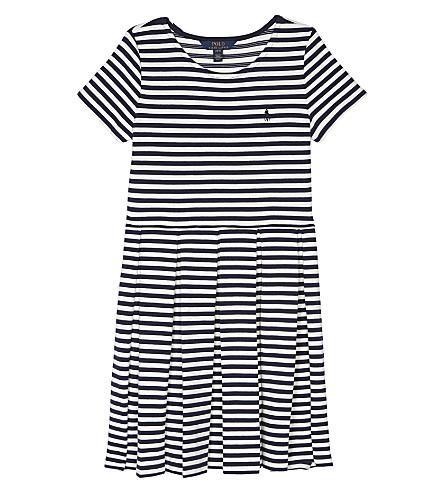 RALPH LAUREN Striped pleated ponte dress S-XL (Newport+navy/ne