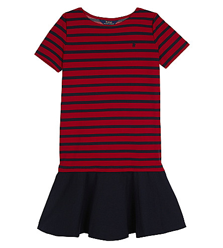 RALPH LAUREN Striped ponte dress 7-14 years (Navyred
