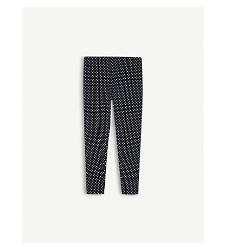 RALPH LAUREN Polka-dot stretch cotton leggings S-XL (Navy/white