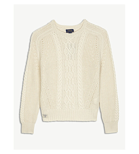 RALPH LAUREN Cable-knit jumper S-XL (Cream