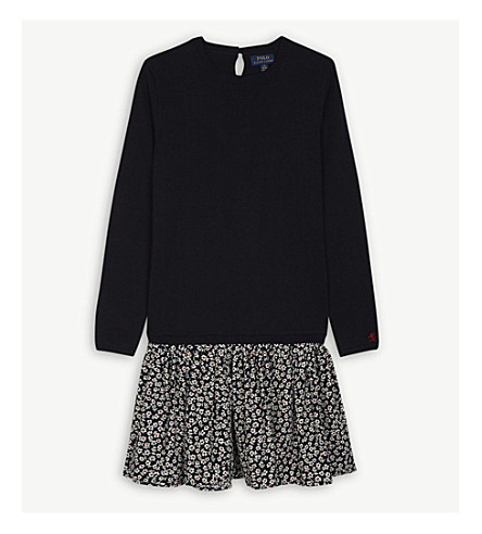 RALPH LAUREN Cotton-blend jumper dress 7-14 years (Navy