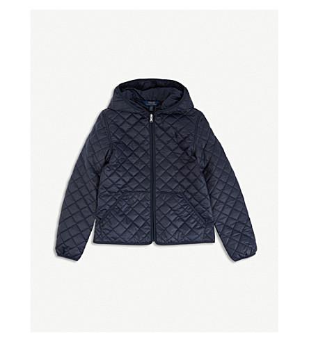 RALPH LAUREN Hooded quilted jacket (Hunter+navy