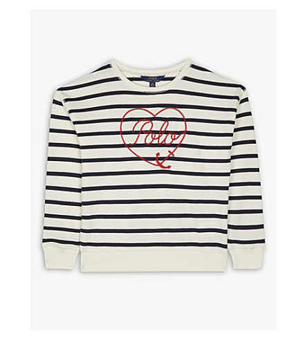 RALPH LAUREN Heart striped cotton-blend jumper 7-14 years (Cream/navy