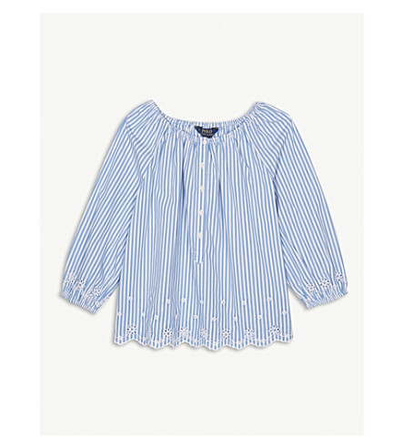 RALPH LAUREN Stripe embroidered cotton top 7-16 years (Blue/white