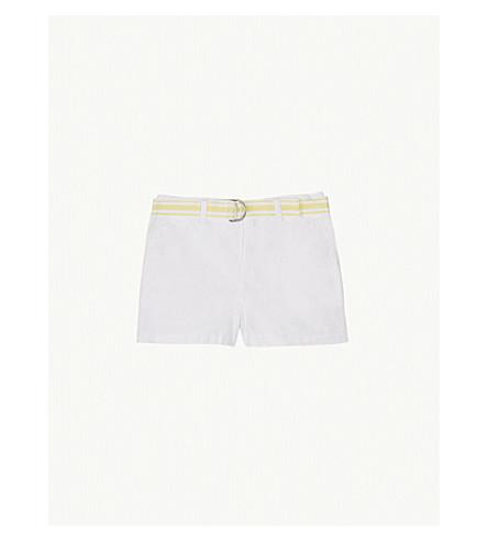 RALPH LAUREN Stripe belt cotton chino shorts 7-16 years (White