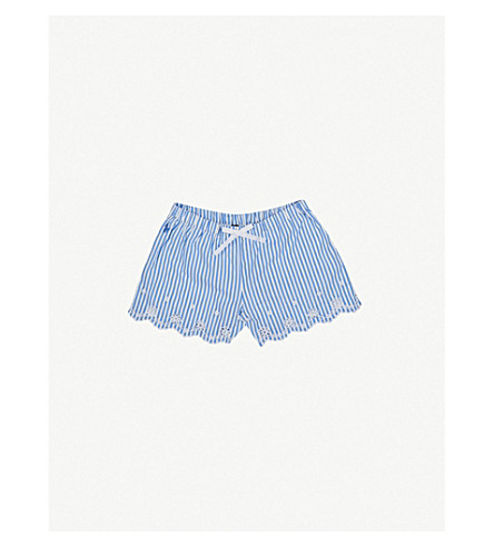 RALPH LAUREN Striped embroidered cotton shorts 7-14 years (Blue white