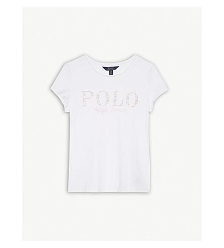 RALPH LAUREN Floral polo cotton T-shirt S-XL (White