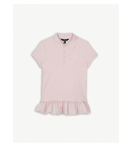RALPH LAUREN Eyelet hem cotton polo shirt 7-14 years (Hint+of+pink