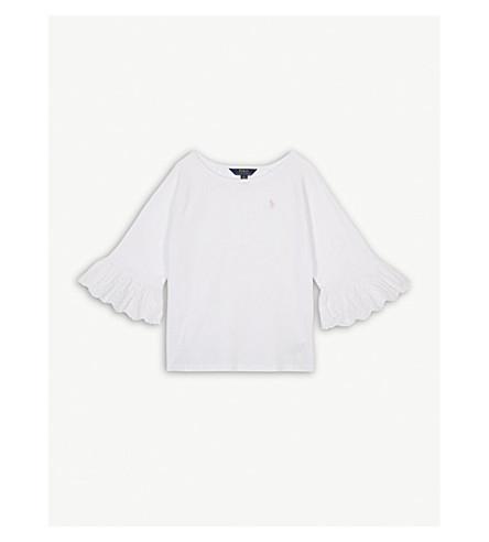 RALPH LAUREN Ruffle 3/4 sleeves cotton-blend top (White