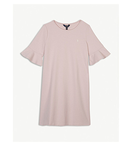 RALPH LAUREN Frill sleeve ponte dress S-XL (Hint+of+pink