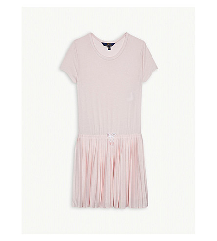 RALPH LAUREN Drawstring waist pleated t-shirt dress 7-14 years (Hint+of+pink