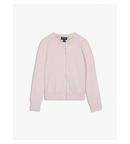 RALPH LAUREN Dot cotton-blend cardigan S-M (Hint+of+pink