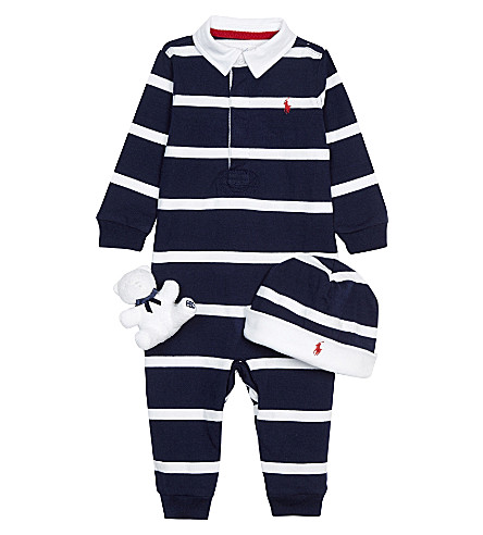 RALPH LAUREN Elephant cotton three-piece gift set 3-9 months (French+navy+m