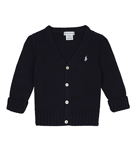 RALPH LAUREN Knitted cotton cardigan 6-24 months (French+navy