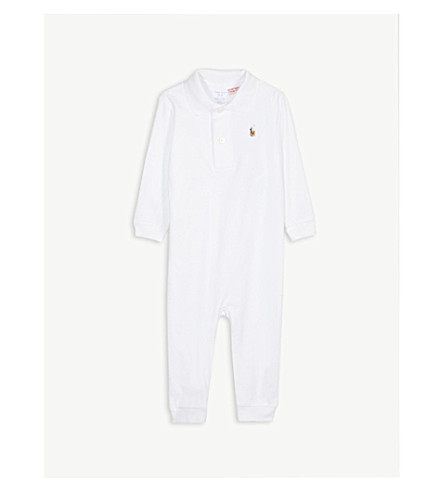 RALPH LAUREN Embroidered logo cotton baby-grow 3-12 months (White