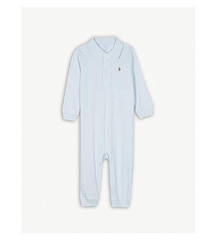 RALPH LAUREN Logo cotton babygrow 3-12 months (Beryl+blue