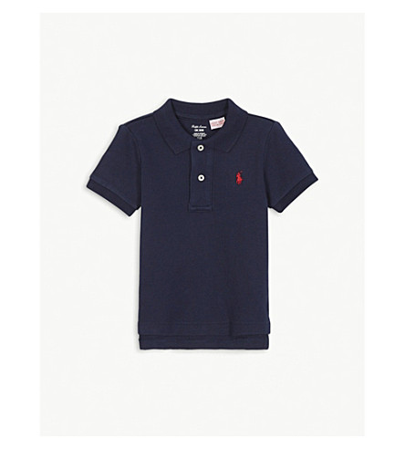 RALPH LAUREN Pony cotton polo shirt 3-24 months (French+navy