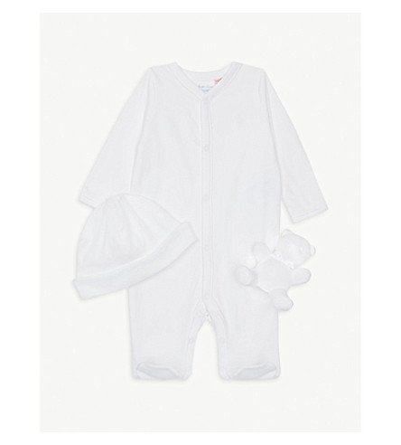 RALPH LAUREN Baby grow, hat and teddy bear rattle gift set 3-9 months (White