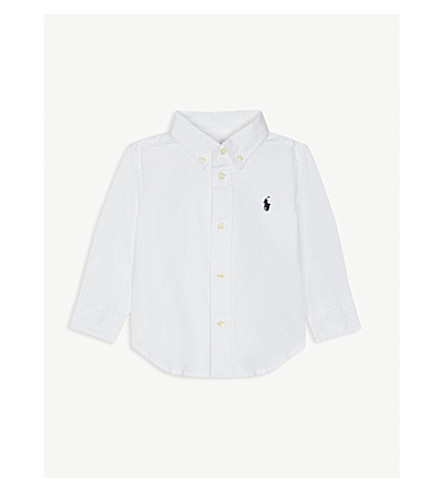 RALPH LAUREN Blake long-sleeve cotton shirt 9-24 months (White
