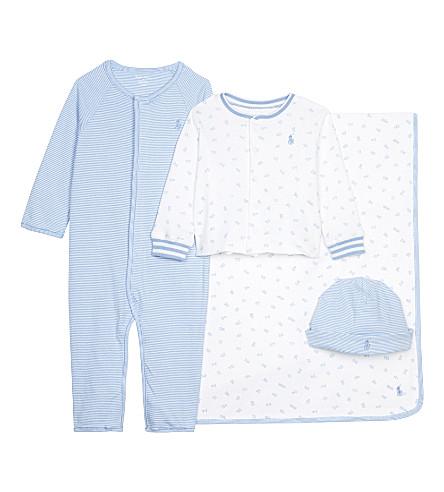 RALPH LAUREN Striped cotton four-piece baby set 3-9 months (Sconset+blue/wh
