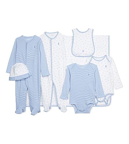 RALPH LAUREN Letter print cotton seven-piece baby set 3-9 months (Pearl+blue
